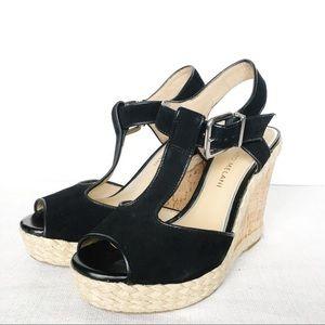 Antonio Melani Black Suede Wedges Heels 7.5